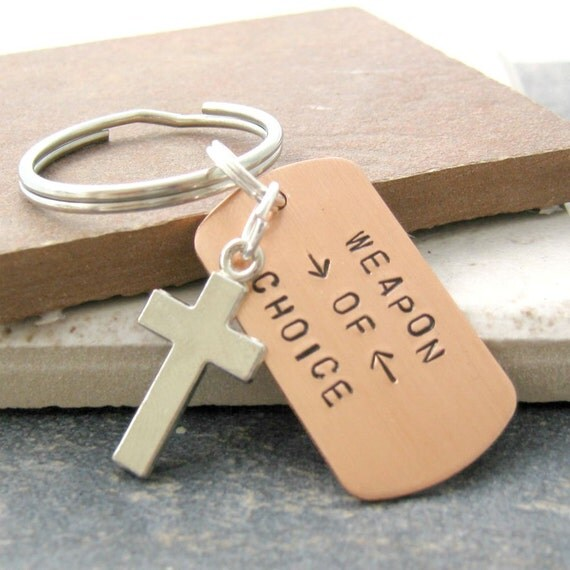 CROSS Keychain, Weapon of Choice, Christianity keychain, God keychain, Religious keychain, baptism gift, communion gift