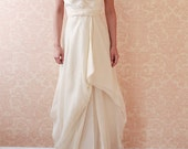 Holland Gown--Silk satin bodice with flowy organza skirt--Size 0--Floor Sample (Sample Sale)