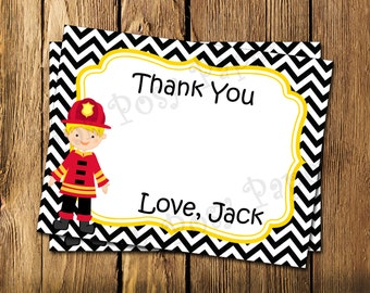 Printable Personalized Firefighter Birthday Flat Thank You Note Cards