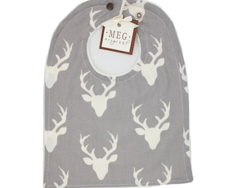 Gray Deer Bib { Baby / Toddler Boy Adjustable Snap Bib } Archer