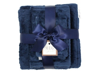 Navy Blue Minky Dot Baby Shower Gift Set { Baby Boy }