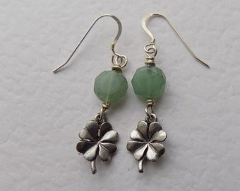 4 Leaf Clover Earrings with Aventurine