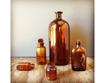 Antique Amber Glass Bottle Collection