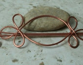 Handmade solid copper hair pin, shawl pin, scarf pin (item ID HS10C)
