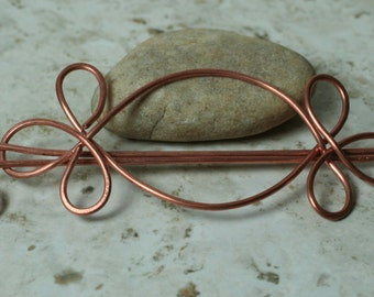Handmade solid copper hair pin, shawl pin, scarf pin, one piece (item ID HS10C)