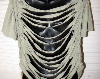 plus sized cut couture sliced up backless t shirt size 2X
