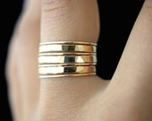 Gold Stacking rings, set of 7, 14k gold fill stackable ring, hammered gold rings, delicate gold rings, gold rings, thick gold rings