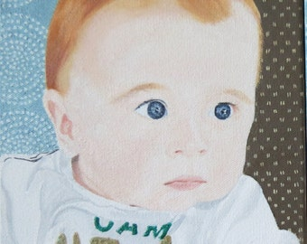Baby Portraits Original Oil Painting Hand Painted 8 x 8 x 1.5 inches Heavy Duty Canvas Made to Order by Pigatopia
