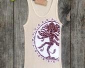 Shiva batik yoga ribbed tank top hand drawn hand painted & hand dyed eco friendly women tan - yoga clothes -