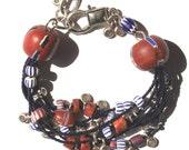 African Trade Bead Multi-strand Bracelet in Navy & Maroon
