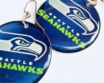 CUSTOM ORDER: Seahawks Earrings! in Navy - Large Resin Earrings