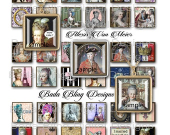 inchies, Marie Antoinette... Gets A Facelift, INSTANT DOWNLOAD at Checkout,  Marie Antoinette collage sheets, inchie collage sheets