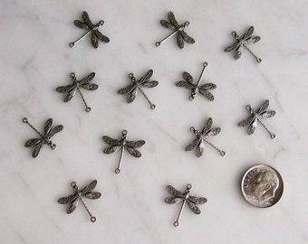 Silver-Plated Connectors Jewelry Findings 2 Hole Dragonflies for Earrings, Necklaces '12 Pieces'