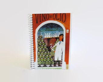 Wine Shop in Rome, Travel Journal, Mid Century Modern, Blank Notebook, Sketchbook, Wine Front Store, Pocket Journal, Spiral Notebook