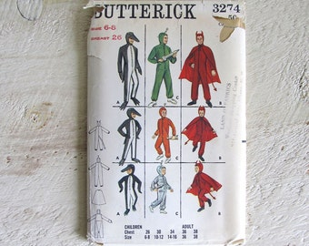 SAVE 31% - Vintage Uncut Butterick 3274 Halloween Costume Pattern - Penguin, Devil & Space Suit - Children Size 6-8
