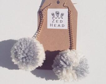 Pom Pom Yarn Chain Dangle Grey White Earrings Jewellery