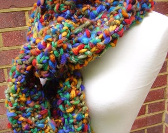 Multi Color Hand Knit Scarf Supersoft Merino Wool