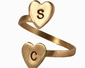 Personalized Initial Ring, Adjustable Ring, Two Heart Ring, Custom Initial Jewelry, Gold Brass Initial Ring, Hand Stamped Ring