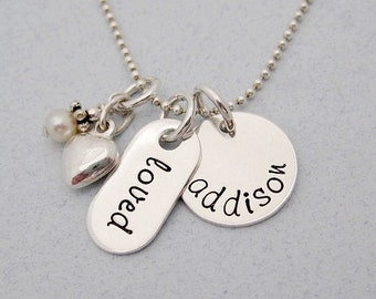 Personalized Name Necklace - Love Necklace with Heart - Gift For Mom - Girlfriend - Hand Stamped Jewelry - Sterling Silver - Loved