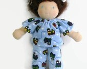 10 inch chubby Waldorf blue train flannel pajamas, doll clothing, waldorf doll's train pajamas, boy doll clothes
