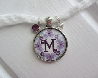 Lavender Flower Initial Pendant Necklace with Heart and Swarovski Charms