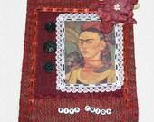 Frida Kahlo Mixed Media Mini Quilt Wall Hanging VIVA FRIDA  Black and Red Colors