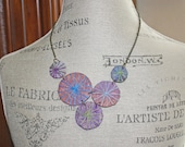 Unique Fabric Umbrella Statement Necklace Little Parasols Jewel Tones with Gold