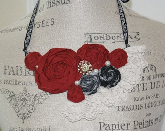 Fabric Rosette Bib Necklace GOTHIC BRIDE Statement or Wedding Piece OOAK
