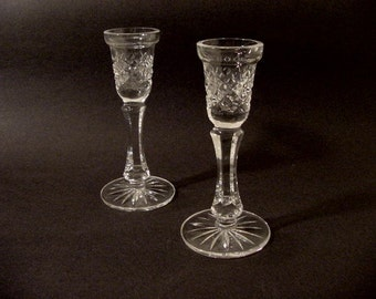 Vintage Waterford Crystal Glass Candlestick Candle Holders pair c. 79-81 collectible Home Dining Room Bedroom Decor Cottage Chic Irish made