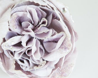 Large Light Lavender Cabbage Rose with Sequin and Beads - 5 inches - Artificial Flowers - ITEM 0607