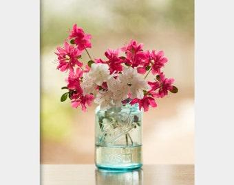 Azaleas in Mason Jar Photo, Flowers in Mason Jar, Still Life Photograph, Magenta Aqua Art, Azalea Photograph, Mason Jar Photo Print