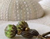 Bead Earrings - Beaded Dangle Earrings - Peridot Green Earrings - Glass Bead Earrings - Vintage Appeal - Short Earrings - Green Earrings