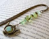 Bookmark - Beaded Bookmark - Glass Bead Bookmark - Teapot Bookmark - Teapot Charm Bookmark - Brass - Green Beaded Bookmark with Teapot Charm