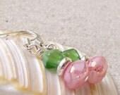 Women's Bead Jewelry - Beaded Glass Jewelry - Short Dangle Earrings - Short Earrings - Pink and Green Earrings - Green and Pink Earrings