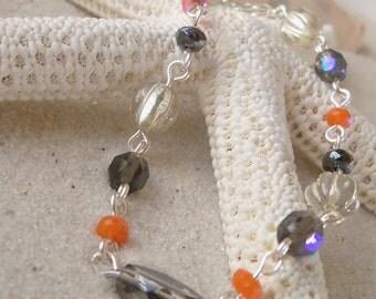Glass Beaded Jewelry - Gray Bracelet - Orange Bracelet - Beaded Bracelet - Gift for Her - Women's Jewelry - Boho Bracelet - Gift Idea