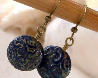 Glass Bead Earrings - Navy Blue Earrings - Short Dangle Earrings - Dark Blue Glass Bead Earrings - Antique Brass Earrings - Czech Glass