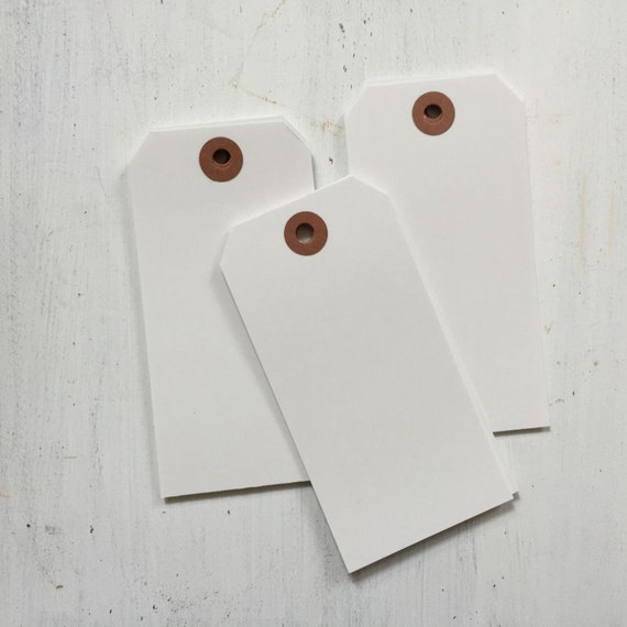 25 White Wedding Tags, Large Blank Shipping Tags, White Luggage Tags, Escort Tags