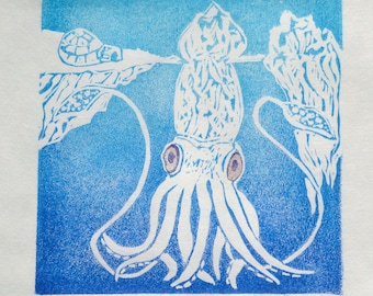 The Fabled Iceberg Squid Mini Print, a linocut imaginary super colossal squid camouflaged as an iceberg - Cryptozoology Lino Block Print