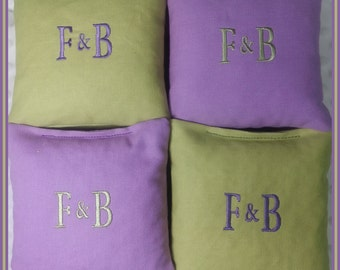 Cornhole Bags Wedding Personalized Date Couple Initials Set of 8 Bags Light Green and Lavender
