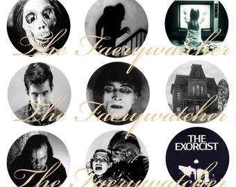 Classic Horror Pins, Classic Horror Magnets, Classic Horror Movie Pins, Fright Night Magnets, 12 ct. Set A