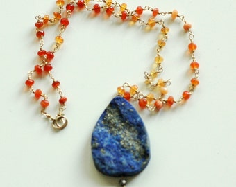 AZTEC SUNSET NECKLACE -fire opal, lapis lazuli and gold fill necklace ooak hand wired luxury premium gem stones opulent - free shipping