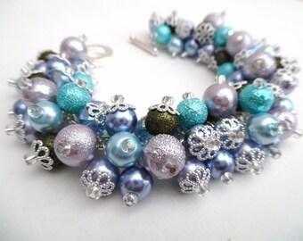 Pearl Beaded Bracelet, Hydrangea Colours, Cluster Bracelet, Chunky Bracelet, Lilac Jewelry, Purple Bracelet, Fashion Jewelry, Gift For Her