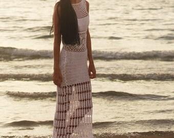 BOHEMIAN WEDDING DRESS, crochet bohemian wedding dress, White bohemian dress, Bohemian dress, white dress, beach wear, festival clothing,