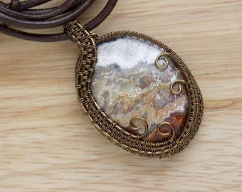 Beautiful Crazy Lace Agate Cabochon Wire Wrapped Pendant Vintage Bronze Parawire Wire Wrapped Jewelry Handmade Free USA Shipping