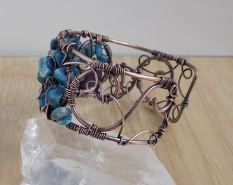 Apatite Chips Lepidolite Drops Oxidized Copper Wrapped Boho Cuff Bracelet Wire Wrapped Jewelry Handmade Renaissance Arm Cuff