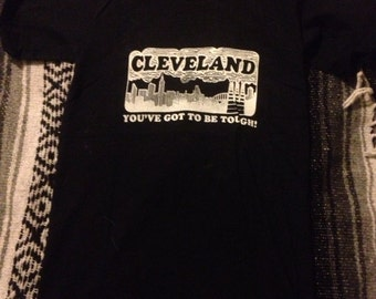 Vtg 90's Cleveland you gotta be tough tshirt small black CLE 216