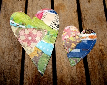Set of 2 Fun, Funky and Whimsical Hearts for Scrapbooking, Card Making, Crafts, Tags/Set A