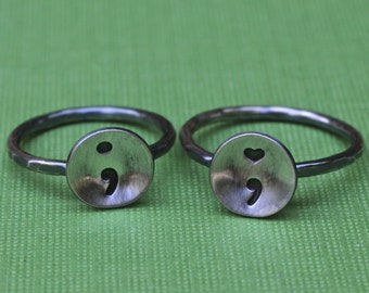 Tiny Semicolon Ring in Sterling Silver