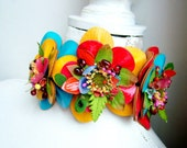 Leather flowers  - OOAK Hairband - Ready to ship xx