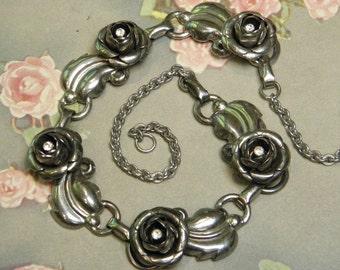 Vintage Rose Linked Metal Necklace Choker